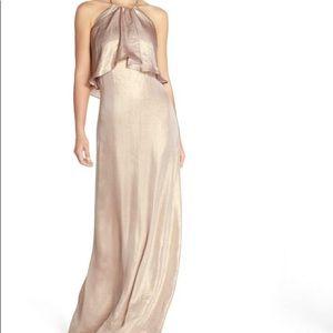 "Nouvelle Amsale ""Lilith"" Rose Gold Halter Gown"